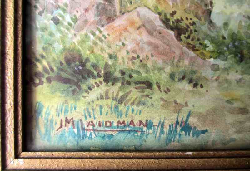 English landscape, watercolour on paper, signed J. M. Laidman, c1930.