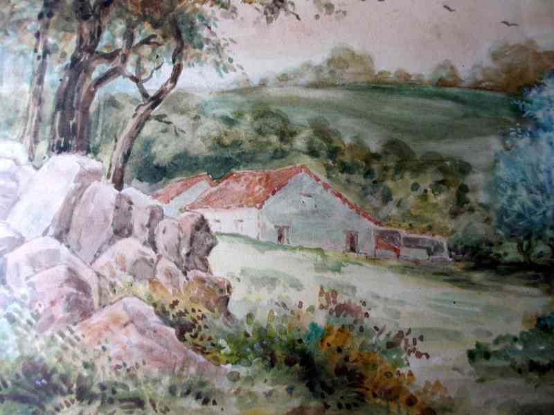 English landscape, watercolour on paper, signed J. M. Laidman, c1930. Detail.