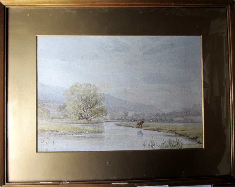Derbyshire landscape near Bakewell, watercolour on paper, signed W.H. Pigott, 1882.