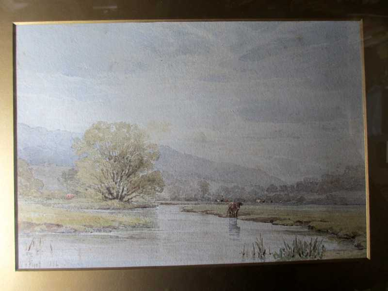 Derbyshire landscape near Bakewell, watercolour on paper, signed W.H. Pigott, 1882. Detail.