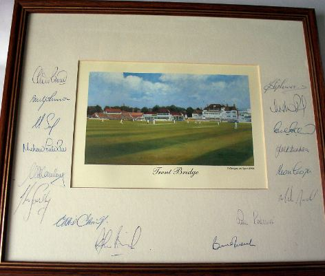 Print of Trent Bridge Autographed by the Nottinghamshire Cricket Team  c1990.