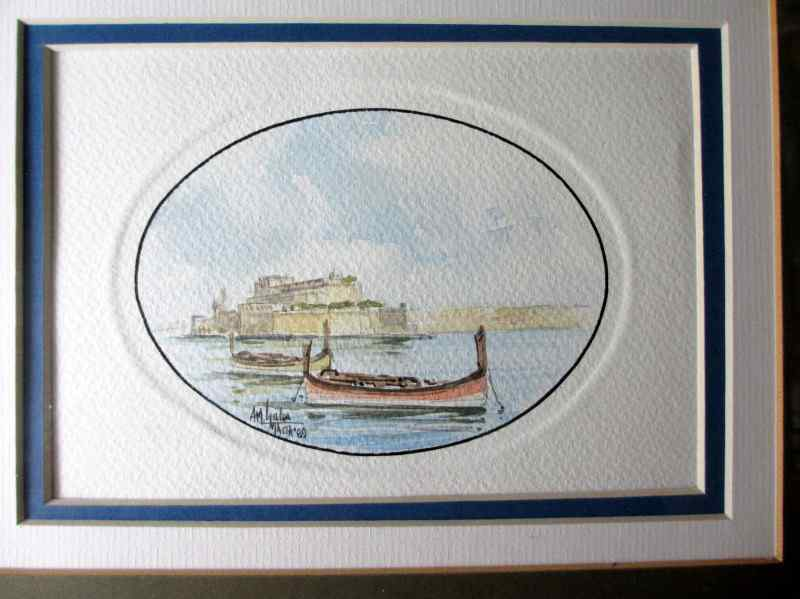 Grand Harbour Valletta, watercolour on customized art paper, signed AM Galea Malta 1989.
