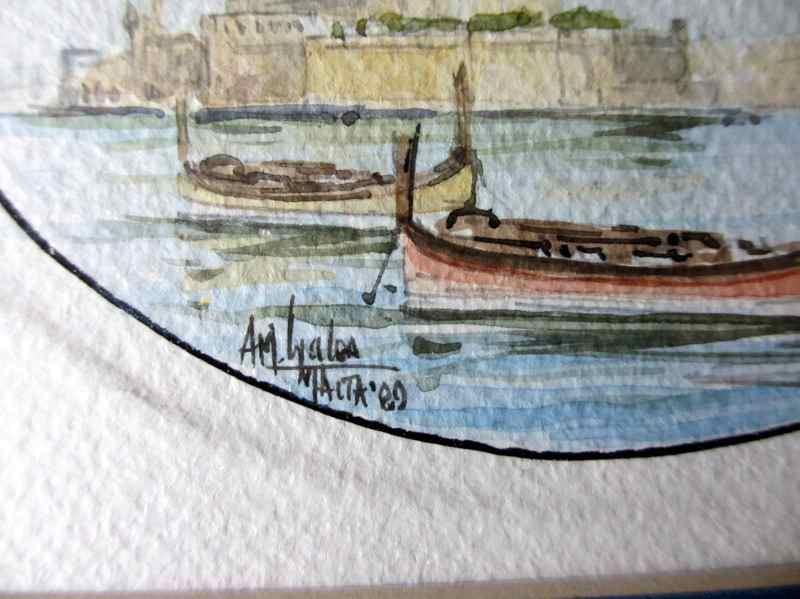 Grand Harbour Valletta, watercolour on customized art paper, signed AM Galea Malta 1989. Detail with signature.
