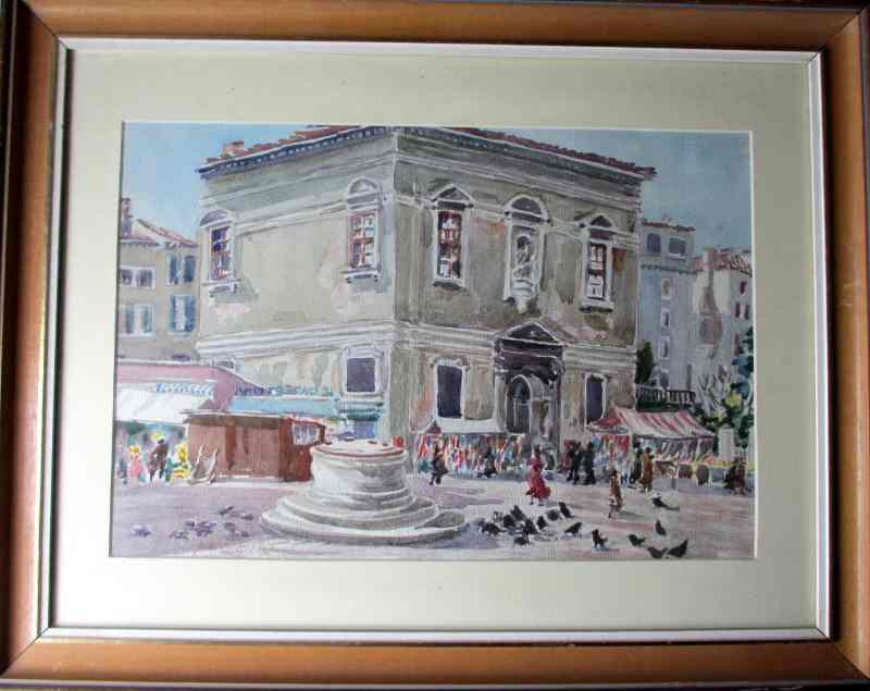 A Venice Street Market, watercolour on paper, signed A.O. Lamplough, c1920.