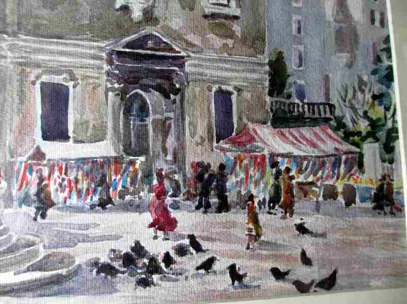 A Venice Street Market, watercolour on paper, signed A.O. Lamplough, c1920. Detail.