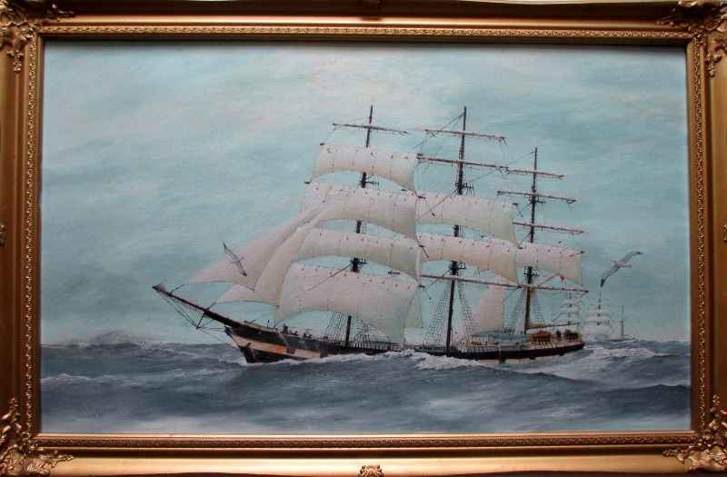 Three-Masted Square-Rigger Underway, oil on board, signed Bill Welburn 1985.