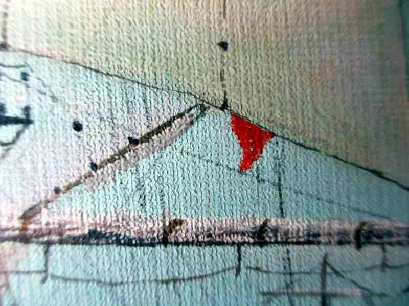 Three-Masted Square-Rigger Underway, oil on board, signed Bill Welburn 1985. Detail. Note the red flag.