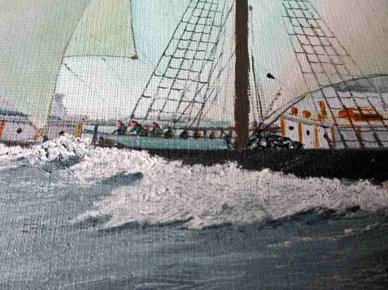Three-Masted Square-Rigger Underway, oil on board, signed Bill Welburn 1985. Detail.