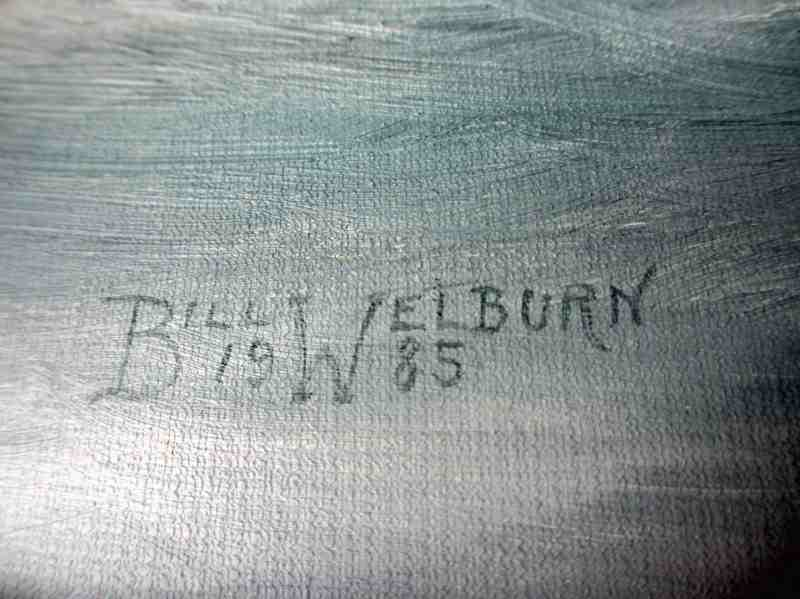 Three-Masted Square-Rigger Underway, oil on board, signed Bill Welburn 1985. Detail. Signature.