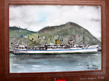 HMT Empire Pride, pen, ink and watercolour on paper, signed Gordon T. Kell, 1954.   SOLD.