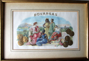 Bovargas, cigar box art, stone lithograph with hand stippling. c1900.