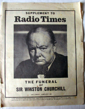 Supplement to Radio Times, The Funeral of Sir Winston Churchill, 30th January, 1965.  SOLD  17.01.2015.