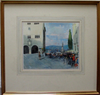 Cafe scene in Todi, Perulgia Province, Italy, watercolour, signed Trevor Stubley. c1991.   SOLD.