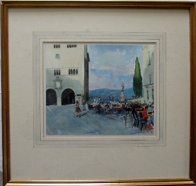 Cafe scene in Todi, Perulgia Province, Italy, watercolour, signed Trevor St
