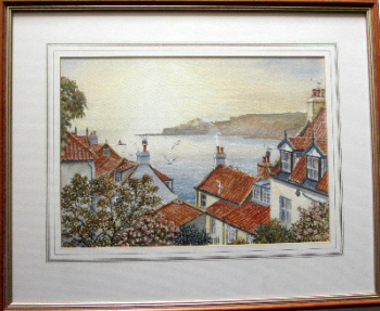 Runswick Bay, North Yorkshire, watercolour on paper, signed Sam Burden.  SOLD.