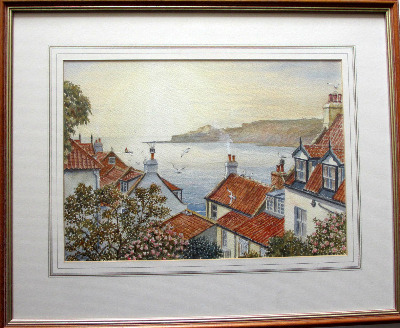 Runswick Bay, North Yorkshire, watercolour on paper, signed Sam Burden.  SO