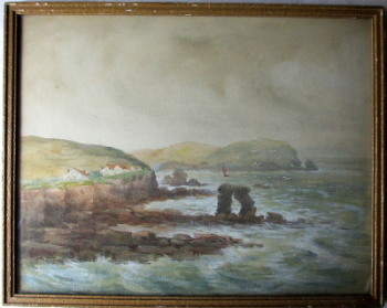 A Coastal Scene, Thurleston Rock, South Devon, watercolour and gouache, signed J.M. Laidman, c1930.  SOLD.