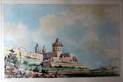 Mdina, watercolour on paper, signed Jos. Galea, Malta 71. Framed and glazed