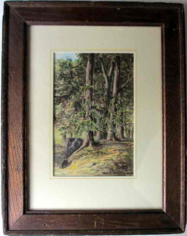 Forest Scene signed Karl de Grammont 1976, watercolour on paper. Framed and glazed.