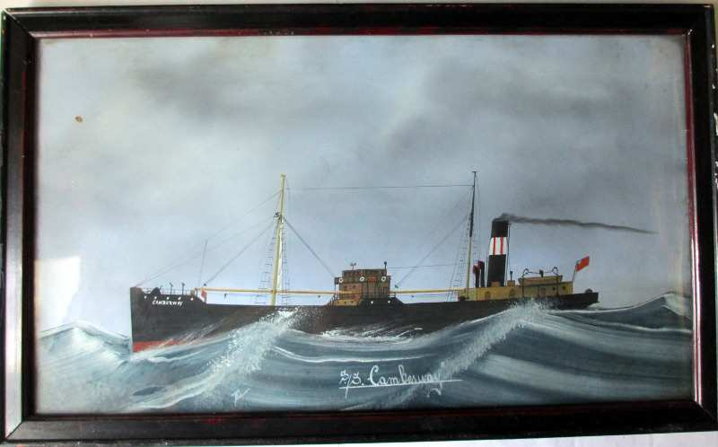 ss Camberwell, gouache on paper, framed and glazed, signed monogram LK, script verso L. Kroes painter Kemp. date 18 Antwerp.