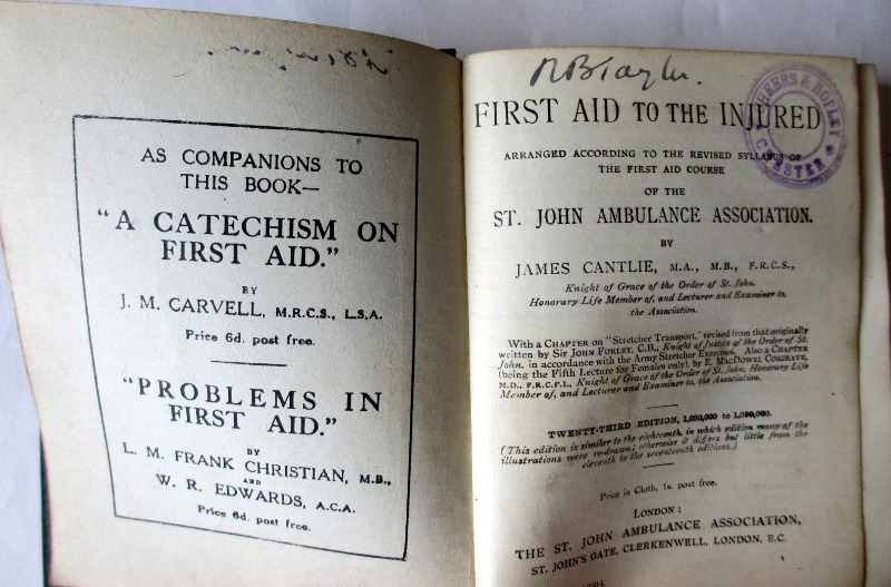 First Aid to the Injured by James Cantlie, 23rd Edition, 1914. Title page.