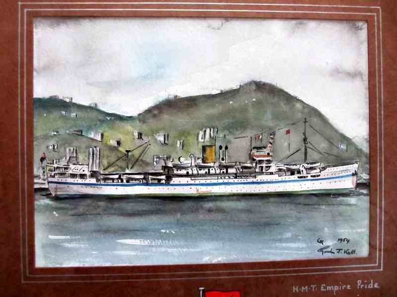 HMT Empire Pride, pen, ink and watercolour on paper, signed Gordon T. Kell, 1954. Framed and glazed.