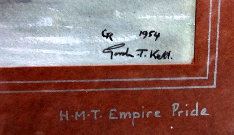 HMT Empire Pride, pen, ink and watercolour on paper, signed Gordon T. Kell, 1954. Framed and glazed. Detail.