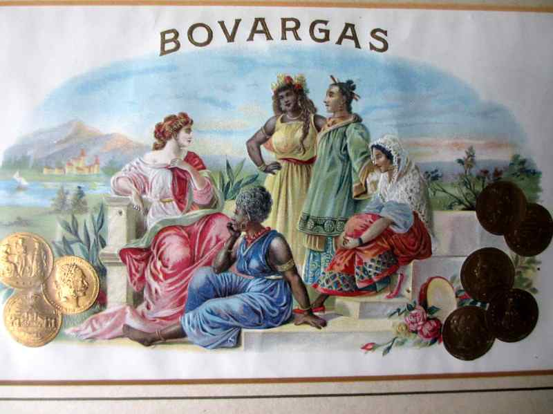 Bovargas, cigar box art, stone lithograph with hand stippling. c1900. Detail.