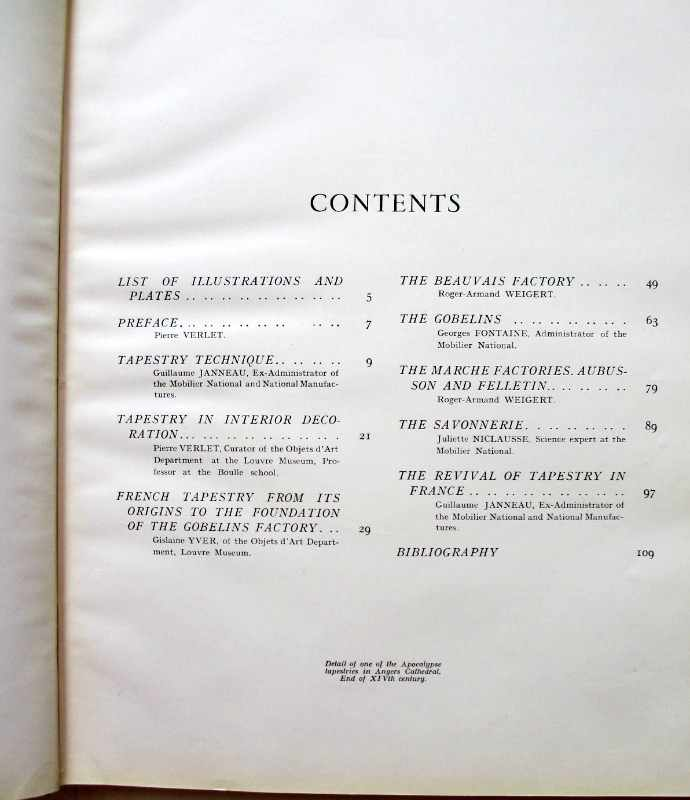 French Tapestry, edited by Andre Lejard, 1946. Contents.
