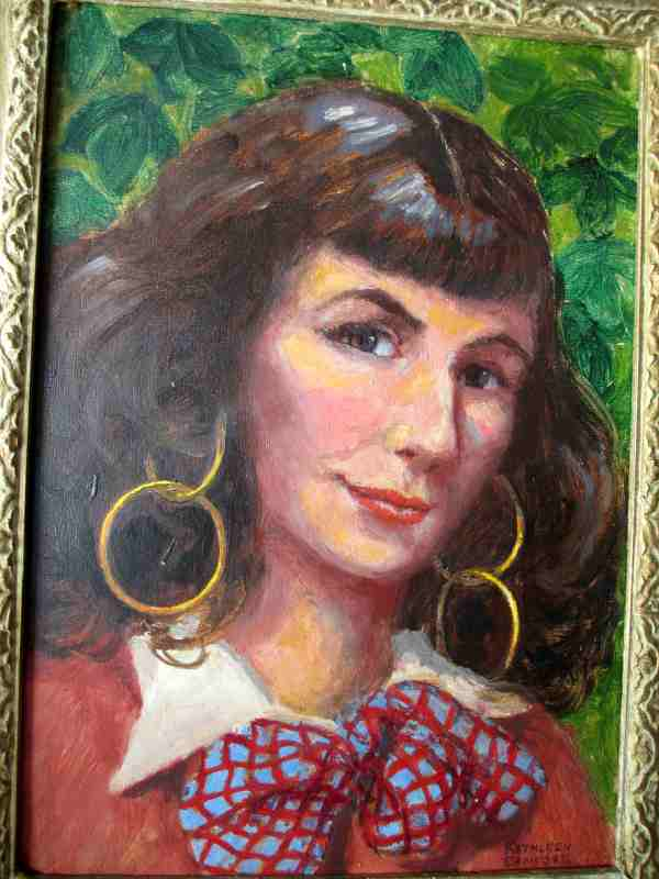 A Gypsy Girl, oil on board, signed Kathleen Bamford. c1970. Detail.