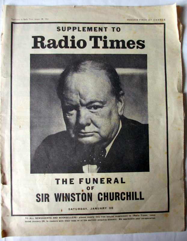 Supplement to Radio Times The Funeral of Sir Winston Churchill 30 January 1965.