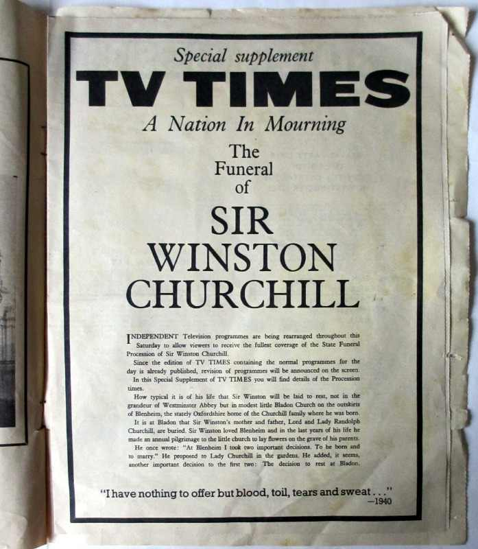 Supplement to Radio Times The Funeral of Sir Winston Churchill 30 January 1965. Special Supplement TV Times.