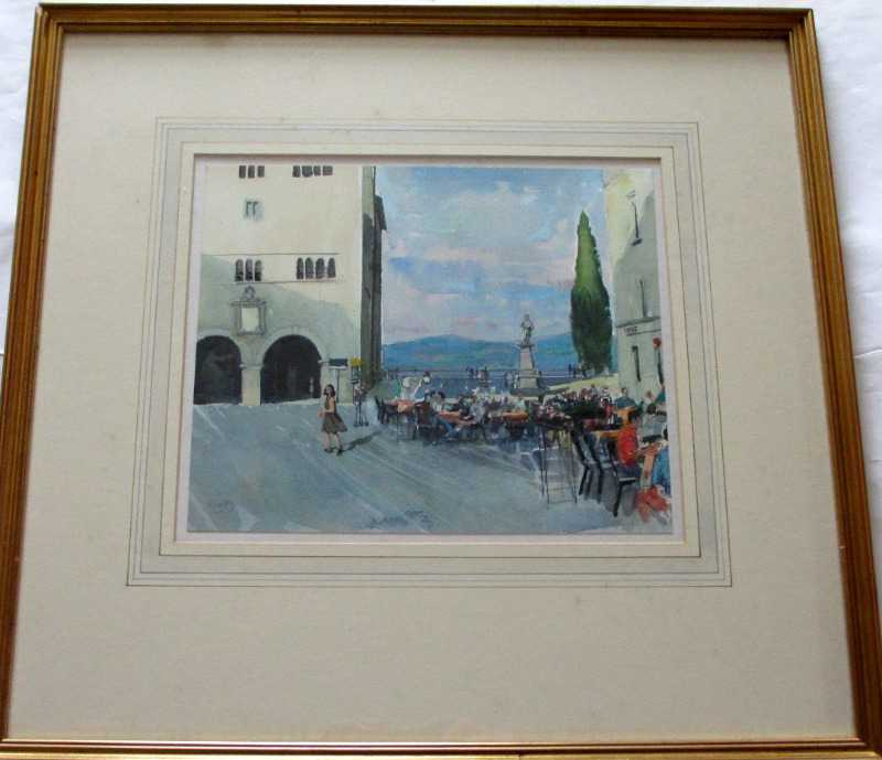 Cafe scene in Todi, pencil, pen, ink and watercolour on paper, signed Trevor Stubley, c1991.