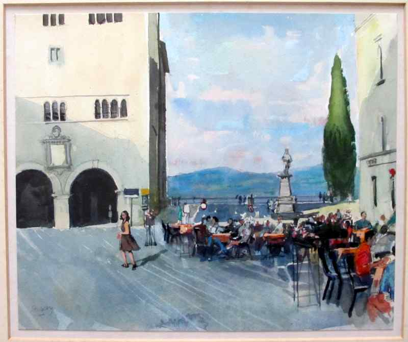 Cafe scene in Todi, pencil, pen, ink and watercolour on paper, signed Trevor Stubley, c1991. Detail.