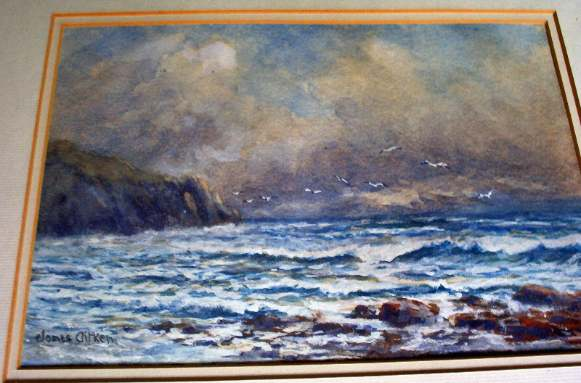 Breakers on the Coast, watercolour on paper signed James Aitken c1900.
