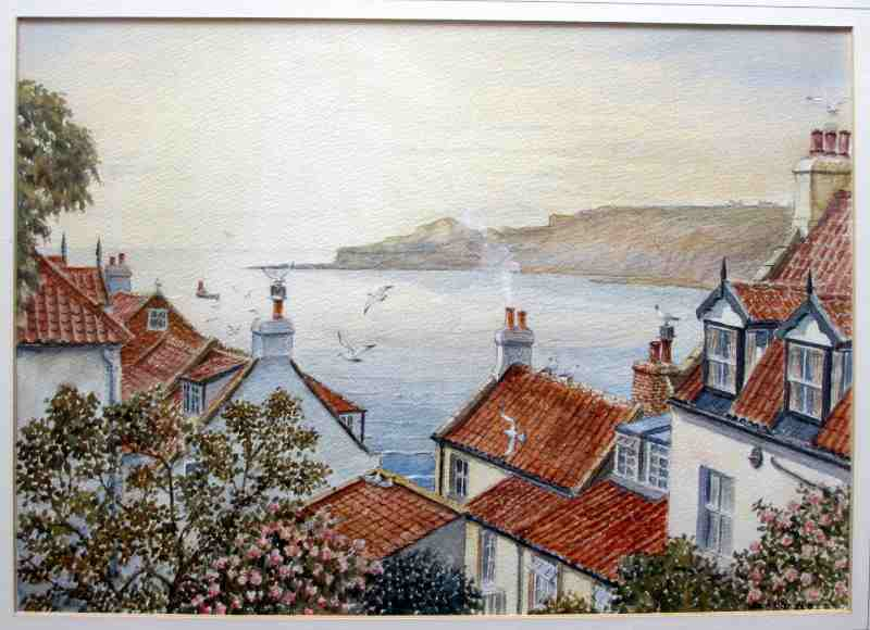 Runswick Bay, watercolour on paper, signed Sam Burden. c1980.