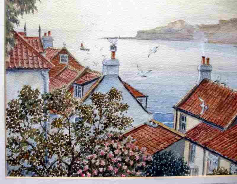 Runswick Bay, watercolour on paper, signed Sam Burden. c1980. Detail.