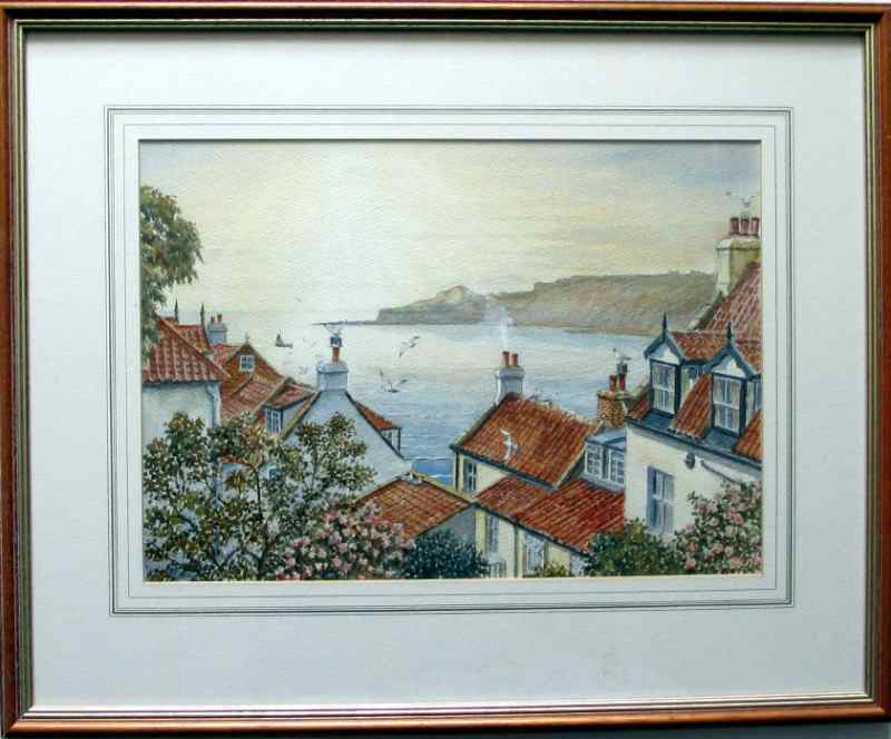 Runswick Bay, watercolour on paper, signed Sam Burden. c1980. The framed painting.