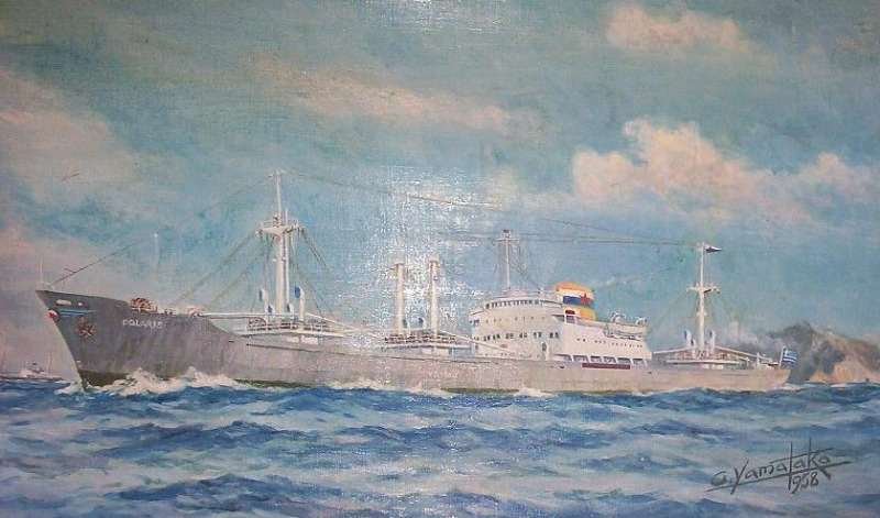 mv Polaris, oil on canvas, signed G. Yamataka, 1958.