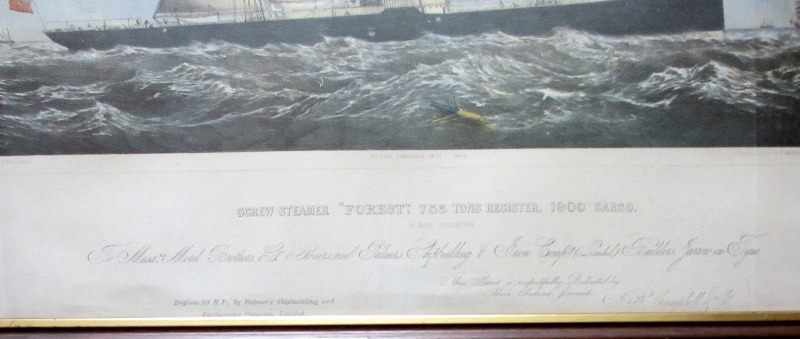 "Screw Steamer ""Forest"" 1880, offset lithograph of the original hand coloured litho. Detail."