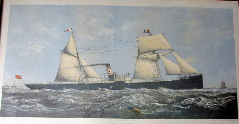 "Screw Steamer ""Forest"" 1880, offset lithograph of the original hand coloured litho."
