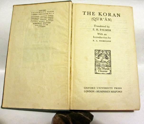 The Koran (Qur'an), translated by EH Palmer, O.U.P., 1928.