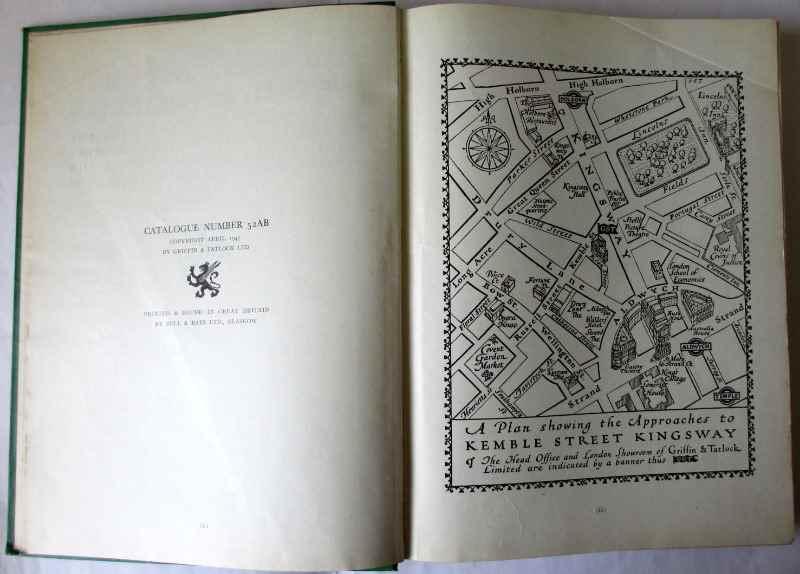 Scientific Apparatus Cataloge No. 52AB, Griffin & Tatlock Ltd., April 1947. A plan.