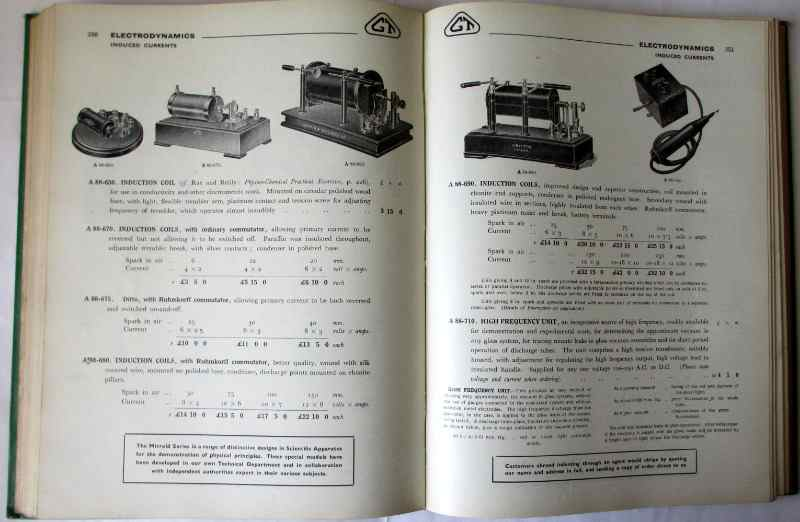 Scientific Apparatus Cataloge No. 52AB, Griffin & Tatlock Ltd., April 1947. Sample pages.