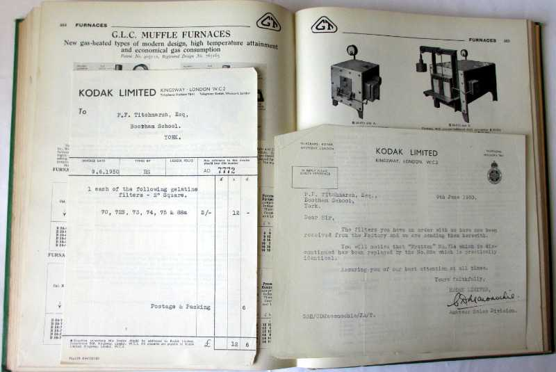 Scientific Apparatus Cataloge No. 52AB, Griffin & Tatlock Ltd., April 1947. Sample pages. Correspondence and invoice.