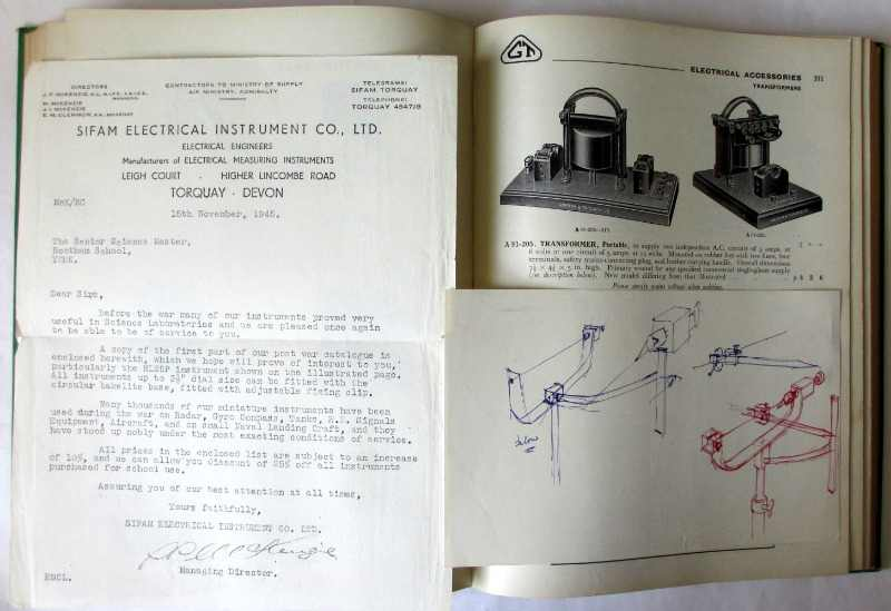 Scientific Apparatus Cataloge No. 52AB, Griffin & Tatlock Ltd., April 1947. Sample pages. Correspondence and sketch.