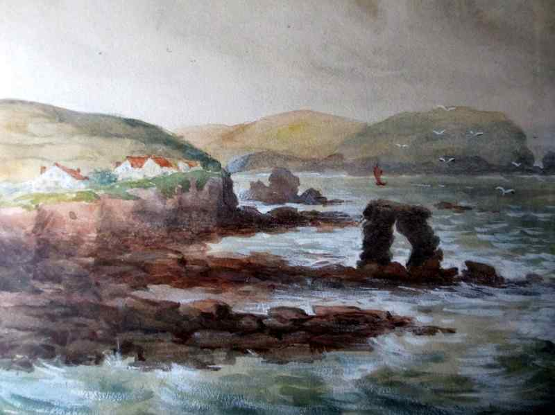 A Coastal Scene, watercolour and gouache, signed J.M. Laidman, c1930.