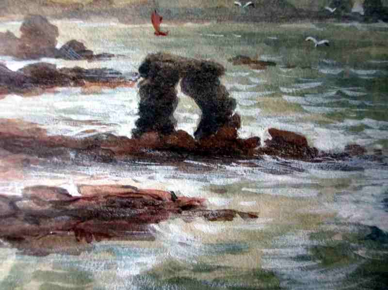 A Coastal Scene, watercolour and gouache, signed J.M. Laidman, c1930. Detail.