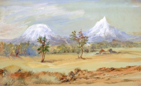 Mount Kilimanjaro gouache on card, framed and glazed.