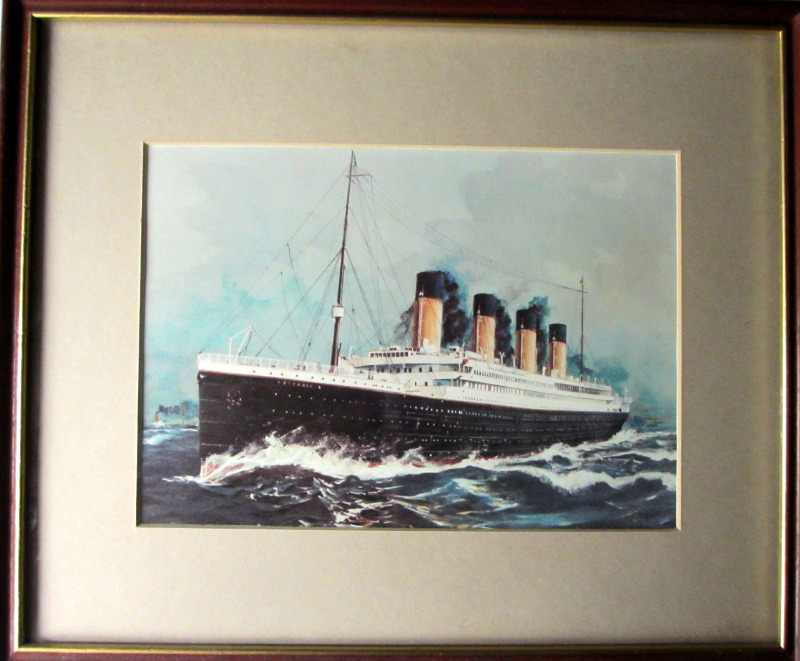 RMS Titanic, full steam ahead, open-edition print, framed and glazed.